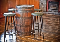 Barstools in the front bar, Delatite Hotel