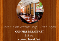 joins us for breakfast on Anzac day at the Delatite Hotel Mansfield